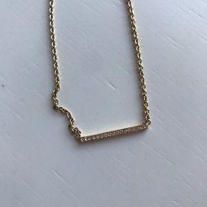 Kate Spade diamond gold bar necklace